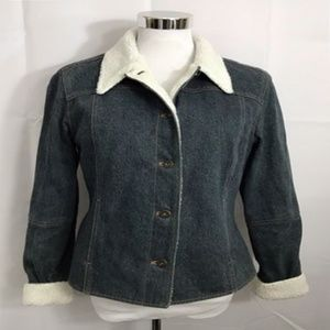 Moda International Jacket Blue Denim Sherpa VTG